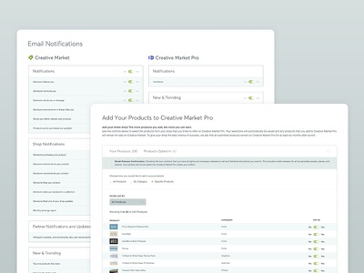 Central System UI/UX dashboard editor settings account integrations product system central market creative