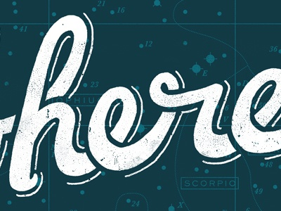 here hand-lettering poster silkscreen here white drop-shadow stars
