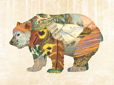 bear bear collage print illustration woodland creatures