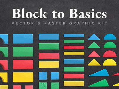 Block to Basics Graphic Kit nostalgia colorful triangle circle square rectangle for sale graphics illustrator vector primary colors geometric kids basics assets resources design blocks creativemarket creative market