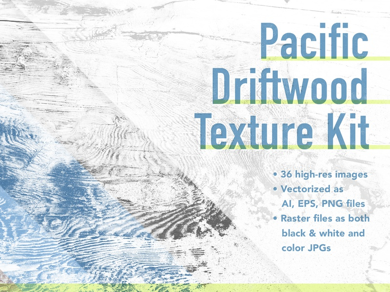 Pacific Driftwood Texture Kit pack kit for sale assets vectorized wood driftwood oregon pacifico creativemarket vector raster texturepack textures design resources