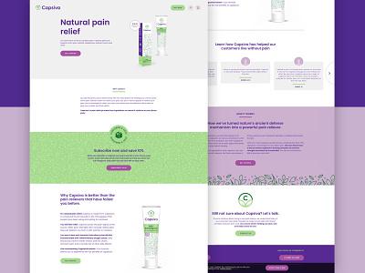 Capsiva ui web logo design logo branding agency branding design naming art direction photography direction photography packaging pain gel purple homepage web design branding