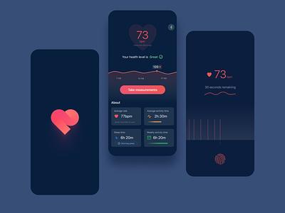 Night Mode - Heart Rate App Concept agency heart ui logo illustration health graphic design fitness design team design branding app
