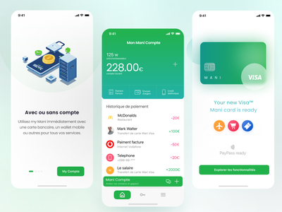 Mani - Mobile Banking Assistant creative movadexcreative graphic design app green movadex ui bank fintech banking mobile