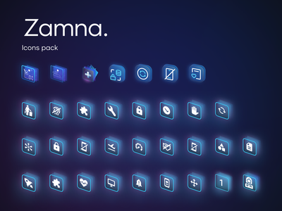 Zamna - Icon Pack business development studio motion graphics 3d animation startup product brand icons vector logo illustration ui branding design team app graphic design design movadex