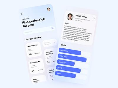 Job search platform - Mobile Application movadex graphic design ui app independence animation 3d motion graphics logo branding development studio illustration ukraine blog hiring web site landing