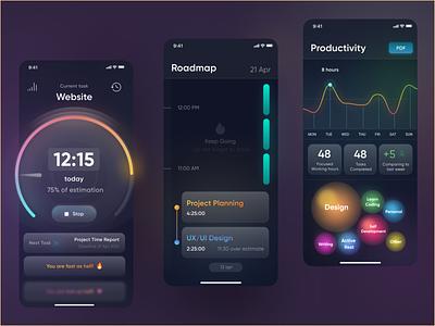Gamification based time tracker & productivity measurement. todo time tracker productivity charts colors dark design app ui movadex