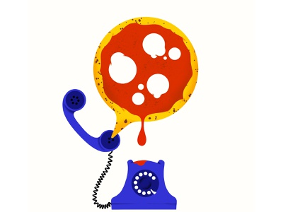 Pizza Call delivery phonecall phone pizza food illustration food