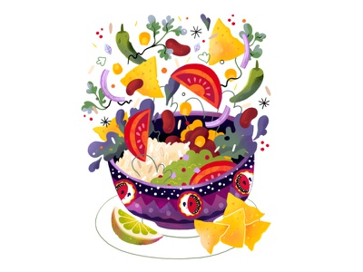 Flying lunch burrito flying hungry illustration food bowl lunch