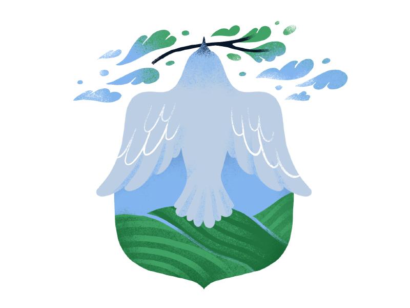 Bird coat of arms icon field plant bird illustration