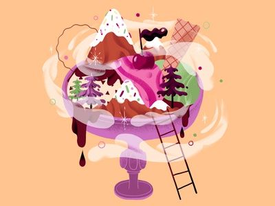Ice Cream ice cream mountains summer nature illustration food