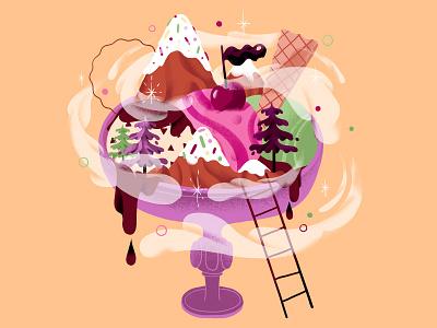 Ice Cream ice cream mountains summer nature illustration food