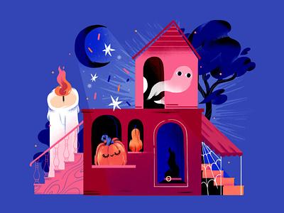 Haunted House pumpkin print illustration ghost haunted house haunted house halloween