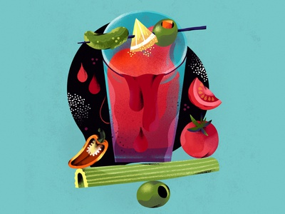 Bloody Mary illustration cocktail bloody mary tomato spot illustration food illustration