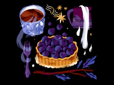 Bluberytart blueberry print dessert illistration still life food illustration food