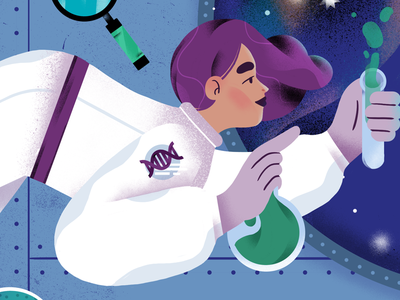 Space Science astronaut spaceship space editorial science illustration