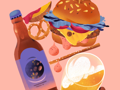 Friday beer bottle illustration snack food illustrator friday food illustration burger food beer