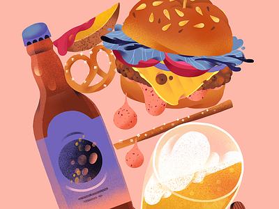 Friday beer bottle illustration snack food illustrator friday food illustration burger food beer