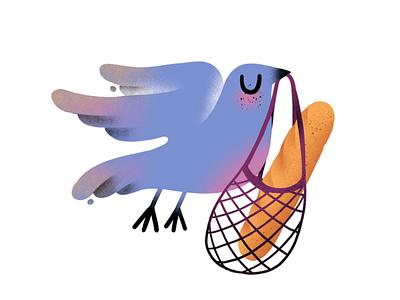 Important delivery fun food icon illustration bread bird