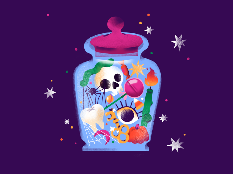 Candy Jar candle spooky spider jar halloween candy food illustration illustration