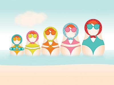 Babushka Babes illustration babushka doll beach holidays