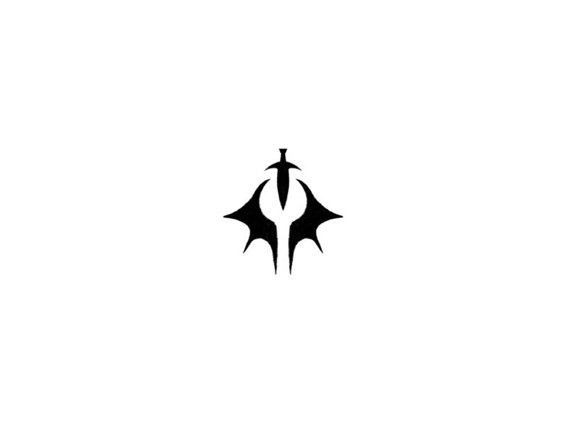 Demon Hunter bat dragon illustration white identity branding design occult eye dagger blade demon cult branding logo geometric logo geometric