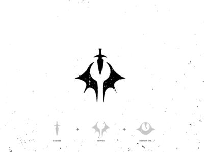 Demon Hunter (Continued.) demon slayer demonic assassin dagger flame dragon demon vector illustration design white black identity brand branding logo