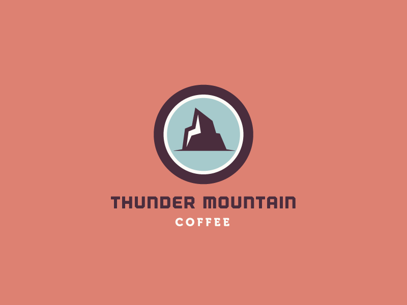 Thunder Mountain Coffee coffee logo branding identity lightning thunder mountain retro