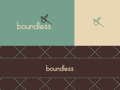 Boundless identity branding logo cream brown blue sewing boundless