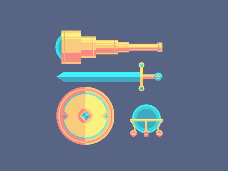 Adventurer's Toolkit crystal ball shield sword telescope illustration flat toolkit adventure