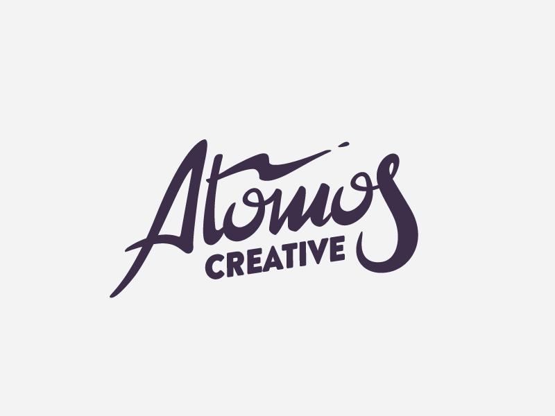 Atomos Handlettered atomos thunder lightning type creative atom space lettering brand logo