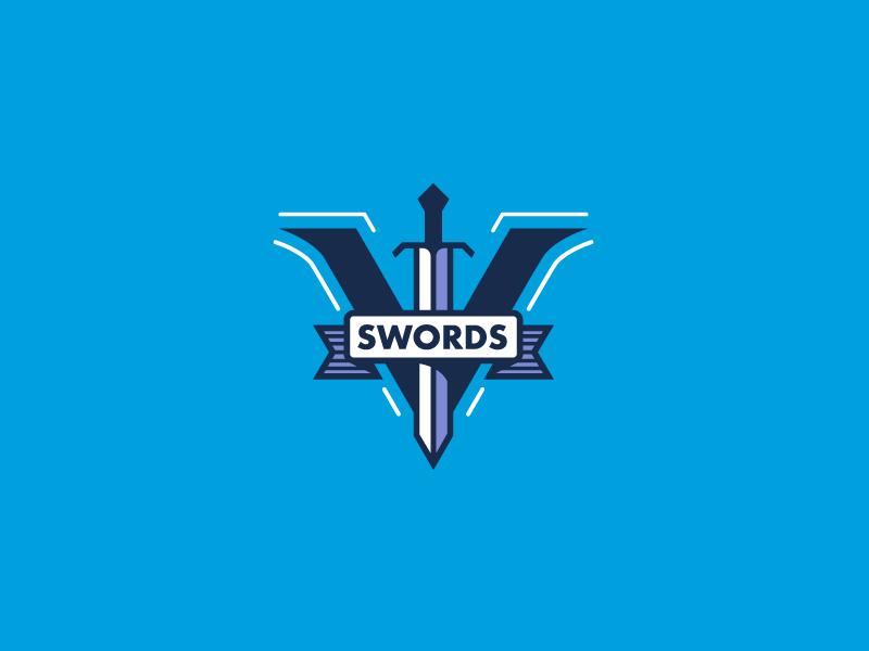 5 Swords v purple white blue branding logo sword
