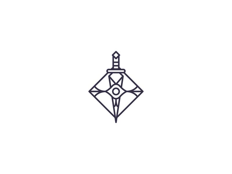 Assassin (Eye & Dagger) brand black art deco identity logo branding