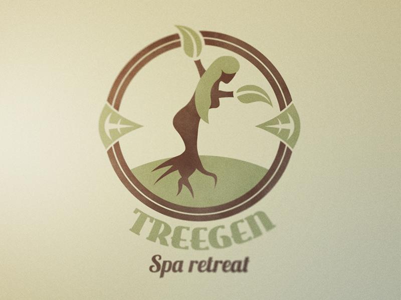 Treegen logo tree roots branding spa retreat leaf organic natural