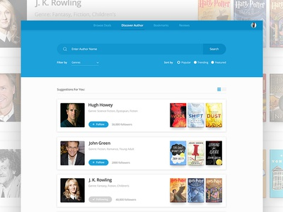 Discover Authors flat discover follow sort filter search ux ui author list card book