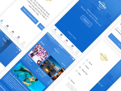 Orbiter app service feed check in side menu travel booking hotel ui ux mobile ios
