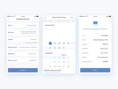 Bill Pay - Make a Payment time picker mobile banking payment success ux finance bank fintech banking ios mobile calendar