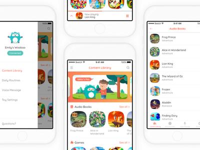 Woobo App audio library ebook player navigation app mobile ux ui toy kid