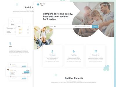 Patient Price Landing Page homepage landing page ui ux web lander illustration provider patient health health care