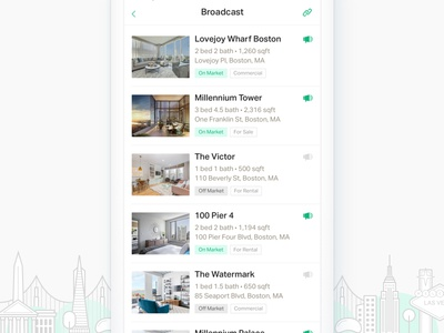Broadcast Listings city illustration illustration list property listing broadcast real estate agent mobile ui ux app