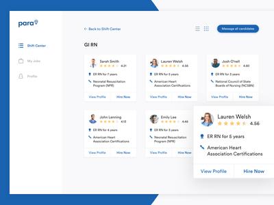 Para Dashboard management profile cards users shift health care portal web ux ui dashboard
