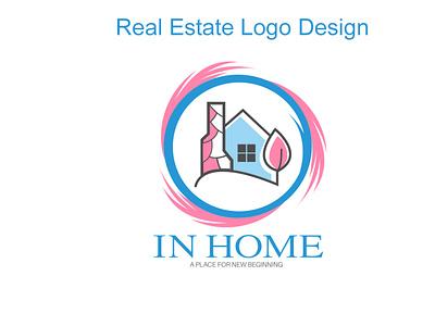 In Home Real Estate Logo Design mortgate logo house logo real estate logo home logo branding logo graphic design