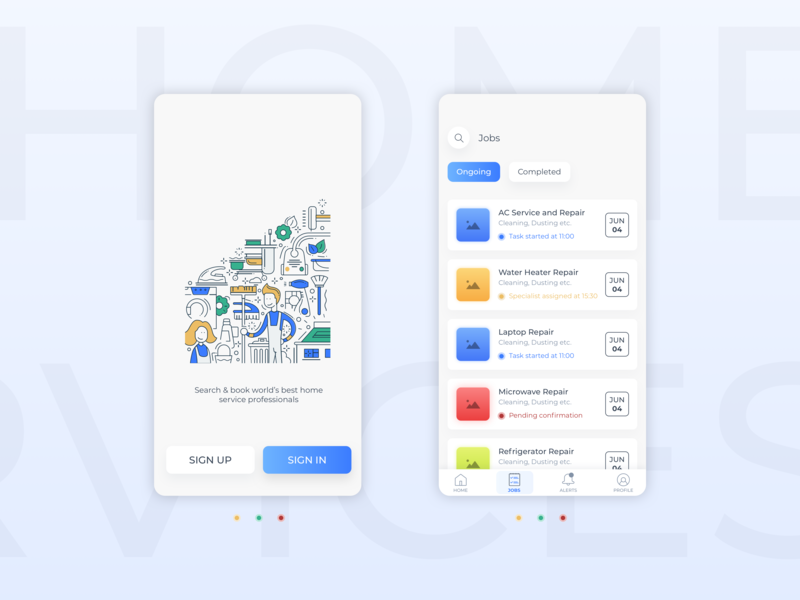 Home Services App Concept ui illustration concept app  design mobile app