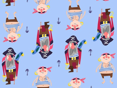Pirate Pattern pattern vector anchor pirates illustration