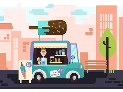 Ice Cream Truck cream ice web illustration flat