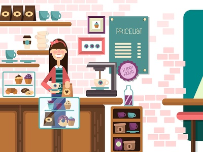 Coffee Shop flat shop coffee illustration