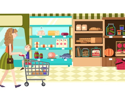 Supermarket / Super mom supermarket vector illustration flat