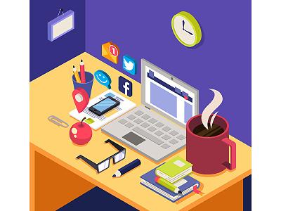 Isometric desk work desk illustration isometric