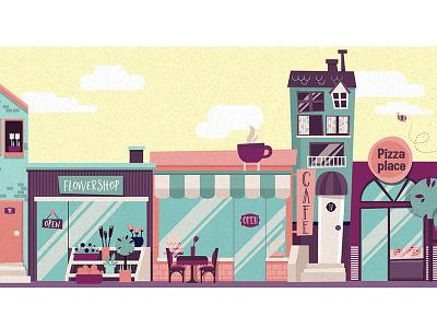 Neighbourhood spring sun vector illustration