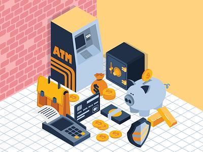 Isometric piggy bank money piggy atm banking bank isometric vector illustration